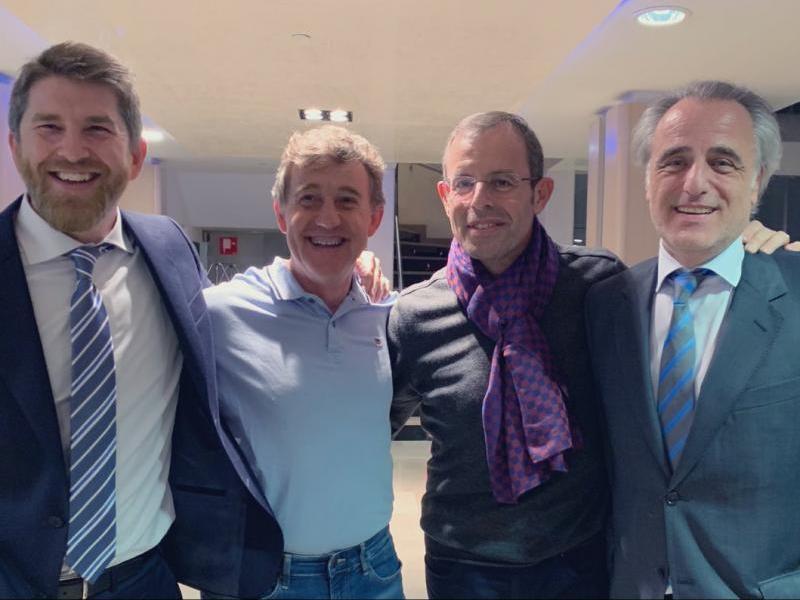 Sandro Rosell i Joan Besolí amb Andrés Maluenda i Pau Molins