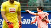 Messi celebra el seu segon gol a Ipurua