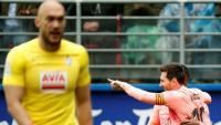 Lionel Messi celebra el seu primer gol contra l'Eibar. Acaba la lliga amb 36