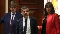 Jordi Sànchez i la diputada de JxCat Laura Borràs, aquest dilluns al Congrés