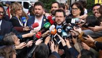 Aragonès atenent als mitjans abans d'entrar al Congrés