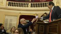El ara senador Raül Romeva en un moment de la votació