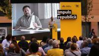 Imatge d'una intervenció de Junqueras en una acte a Girona