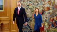 Felip VI i la presidenta del Congrés, Meritxell Batet, al Palau de l a Zarzuela