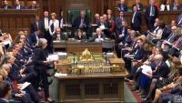La primera ministra britànica, Theresa May , durant la seva compareixença d'ahir al Parlament