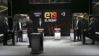 Els candidats a les europees junt amb el moderador en el debat de TV3 i 324