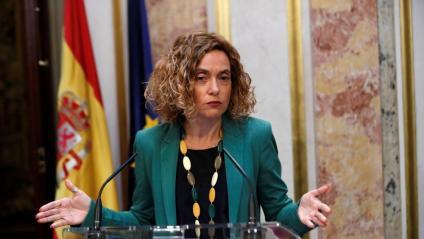 La presidenta del Congrés dels Diputats, Meritxell Batet, explicant ahir la decisió de suspendre els drets dels quatre diputats catalans