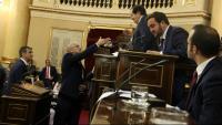 Raül Romeva saluda el president de la mesa d'edat del senat durant la sessió constitutiva de la cambra alta