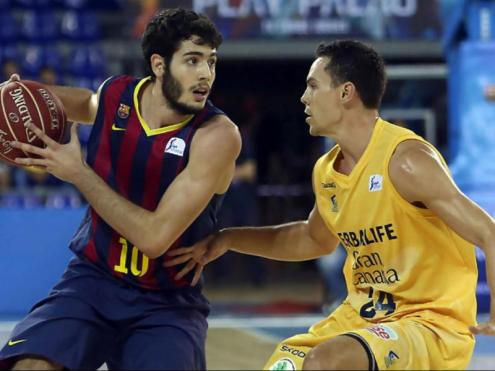 Àlex Abrines, en un partit amb la samarreta del Barça davant de Kuric