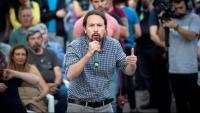 El líder de Podem, Pablo Iglesias, durant un acte de campanua