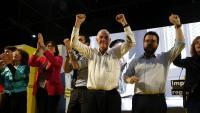 Riba, Torrent, Maragall i Aragonès, ahir en la cloenda de la campanya d'ERC al pavelló del Bon Pastor de Barcelona
