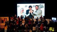Puigdemont, Comín i Ponsatí, per videoconferència, en l'acte final de campanya de JxCat, a la sala Barts de Barcelona