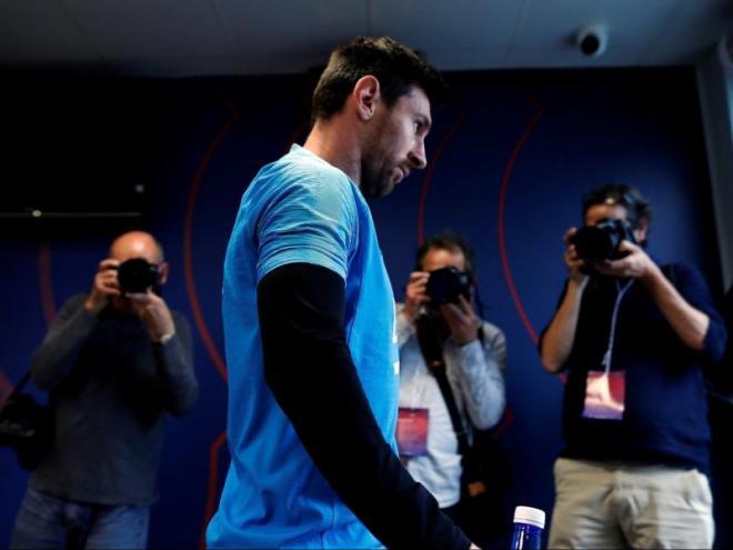Messi, després de la compareixença davant dels mitjans ahir, a la sala de premsa de la Ciutat Esportiva Joan Gamper