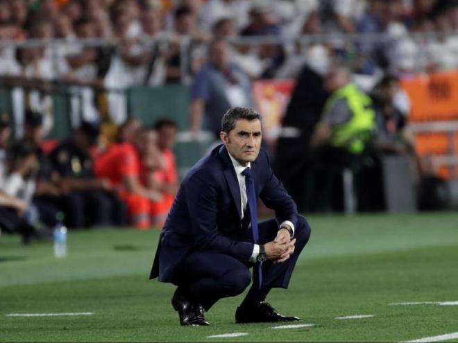 Ernesto Valverde en un moment del partit d'ahir, al Benito Villamarín