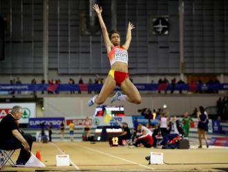 Maria Vicente , en l'europeu en pista coberta de Glasgow
