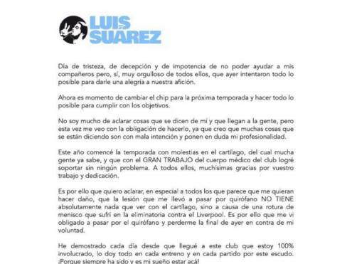 El comunicat de Luis Suárez a les xarxes socials