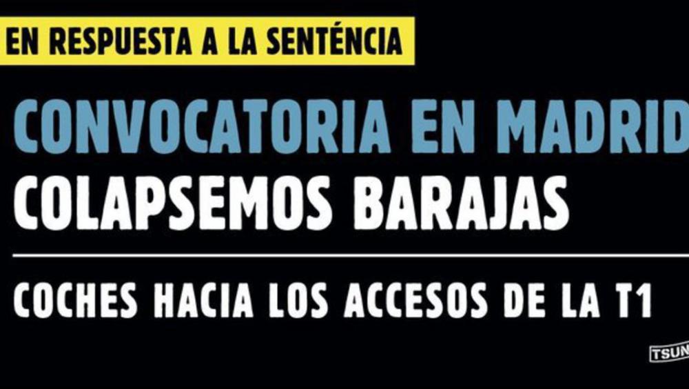 Tsunami Democràtic anuncia que bloqueja també l'aeroport de Barajas a Madrid