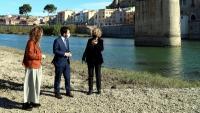 La consellera de Justícia, Ester Capella, el vicepresident en funcions de president, Pere Aragonès, i l'alcaldessa de Tortosa, Meritxell Roigé, durant una recent visita a la ciutat