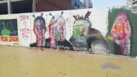 Segon mural de Roc Blackblock malmès