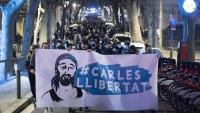Mobilització al barri de Sants el 23 de febrer per demanar la llibertat d'en Carles, detingut durant les protestes per l'empresonament de Pablo Hasél
