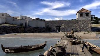 Una imatge virtual de l'antic port grec d'Empúries