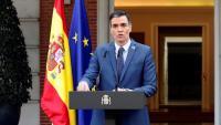 El president del govern espanyol, Pedro Sánchez, durant la roda de premsa posterior a la cimera telemàtica del Consell Europau que ha concedit a la Moncloa