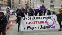Treballadores i treballadors de Parcs i Jardins demanant ahir la dimissió del regidor responsable, Eloi Badia