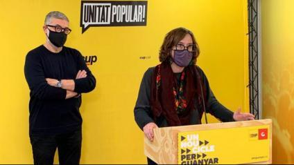 Carles Riera i Eulàlia Reguant, en roda de premsa aquest dissabte
