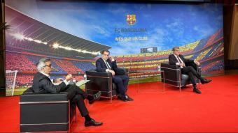 Víctor Font, Toni Freixa i Joan Laporta, en el debat organitzat pel Grup Godó a l'Auditori 1899 del Camp Nou