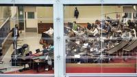 Una aula de la Universitat Pompeu Fabra, amb docència presencial, a principis de l'octubre passat