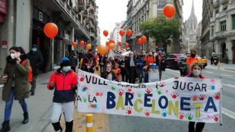 Protesta pel tancament de l'escola concertada Sant Joan Baptista de la Barceloneta
