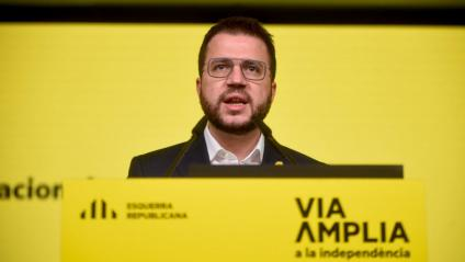 El vicepresident d'ERC, Pere Aragonès, ahir en el consell nacional després de la intervenció de Junqueras