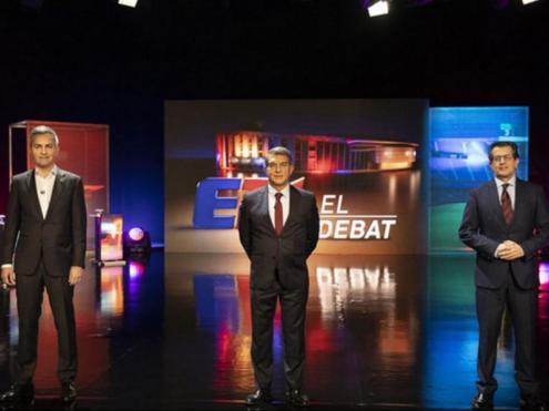 Font, Laporta i Freixa abans del debat d'ahir, a TV3